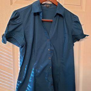 Express Tops - Express Dark Teal Button Down Top - Size Large
